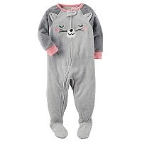 Baby Girl Carter's Cat Face Fleece Sleep & Play