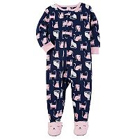 Toddler Girl Carter's Cats Fleece Footed Pajamas