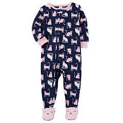 Toddler Girl Carter's Cats Fleece Footed Pajamas