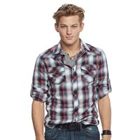 Men's Rock & Republic® Plaid Stretch Twill Button-Down Shirt