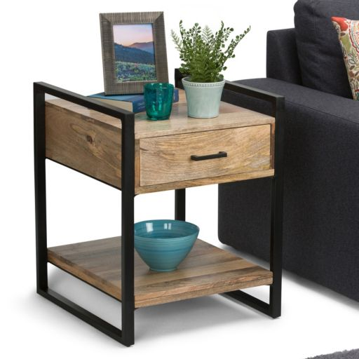 Simpli Home Riverside Rustic End Table