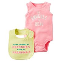 Baby Girl Carter's Graphic Bodysuit & Graphic Bib Set