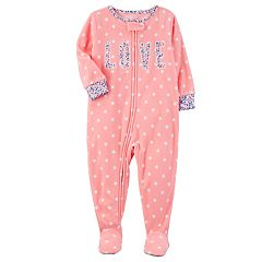 Toddler Girl Carter's 'Love' Dotted Fleece Footed Pajamas