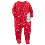 Baby Girl Carter's Snowman Applique Snowflake Fleece Sleep & Play