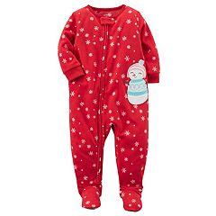 Baby Girl Carter's Snowman Applique Snowflake Fleece Sleep & Play