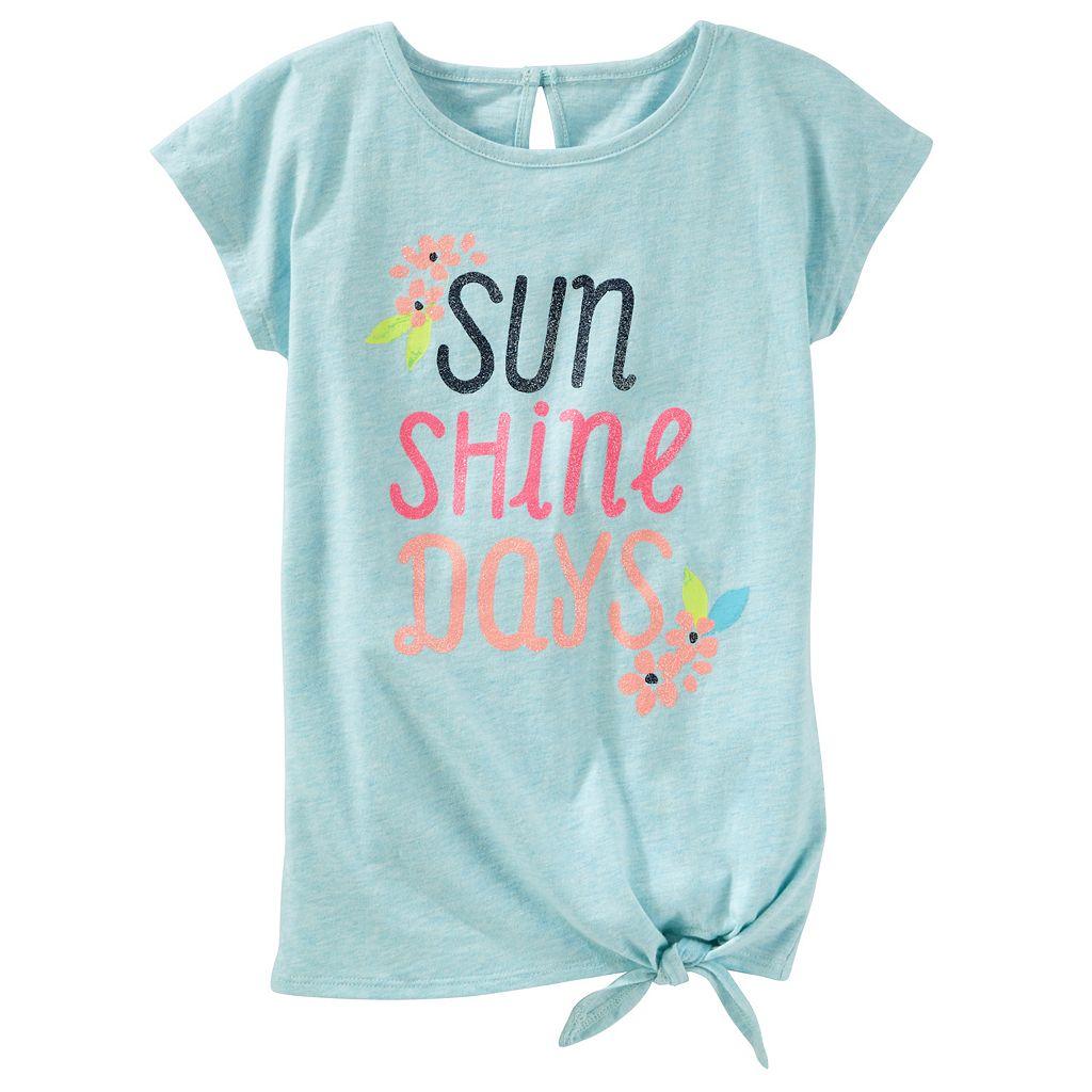 Toddler Girl OshKosh B'gosh® Short Sleeve Tie Front Graphic Tunic Top