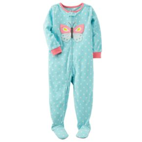 Toddler Girl Carter's Butterfly Dotted Fleece Footed Pajamas