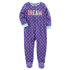 Toddler Girl Carter's 'Dream' Dotted Fleece Footed Pajamas