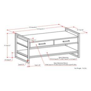 Simpli Home Riverside Rustic 2-Drawer Bench