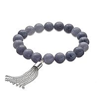 Gray Quartz Beaded Tassel Stretch Bracelet