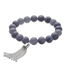Gray Quartz Beaded Tassel Stretch Bracelet