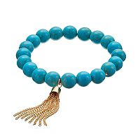 Simulated Turquoise Quartz Beaded Tassel Stretch Bracelet