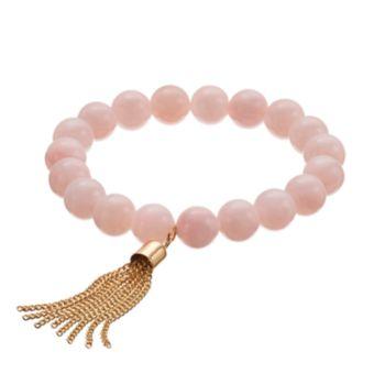 Pink Quartz Beaded Tassel Stretch Bracelet