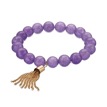 Purple Quartz Beaded Tassel Stretch Bracelet