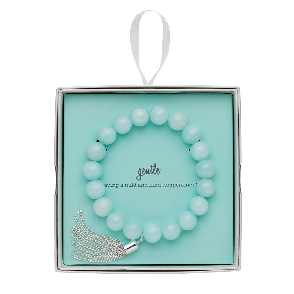 Mint Green Quartz Beaded Tassel Stretch Bracelet