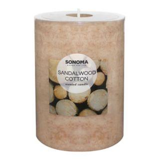 "SONOMA Goods for Life™ Sandalwood Cotton 4"" x 3"" Pillar Candle"