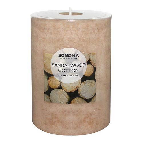 "SONOMA Goods for Life™ Sandalwood Cotton 4"" x 3"" Pillar Candle"