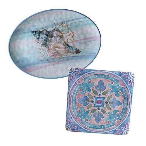Certified International Ocean Dream 2-pc. Platter Set