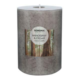 "SONOMA Goods for Life? Mahogany & Cedar 4"" x 3"" Pillar Candle"