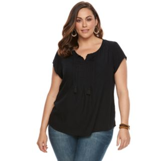 Plus Size SONOMA Goods for Life™ Pintuck Tassel Tee