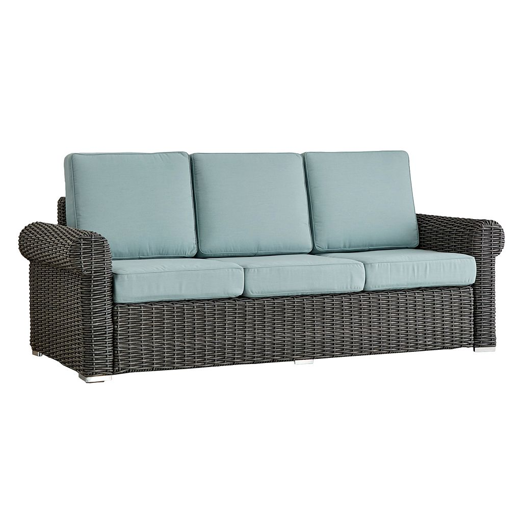 HomeVance Charcoal Wicker Patio Arm Sofa