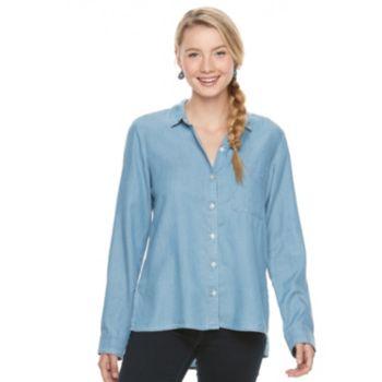 Juniors' SO® High-Low Chambray Shirt