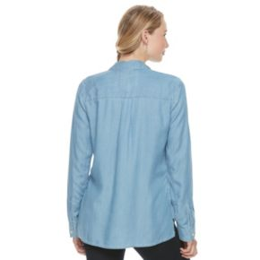 Juniors' SO® High-Low Chambray Shirt
