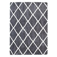 Micro Shaggy Luxury Grande Diamond Lattice Shag Rug - 5'3'' x 7'