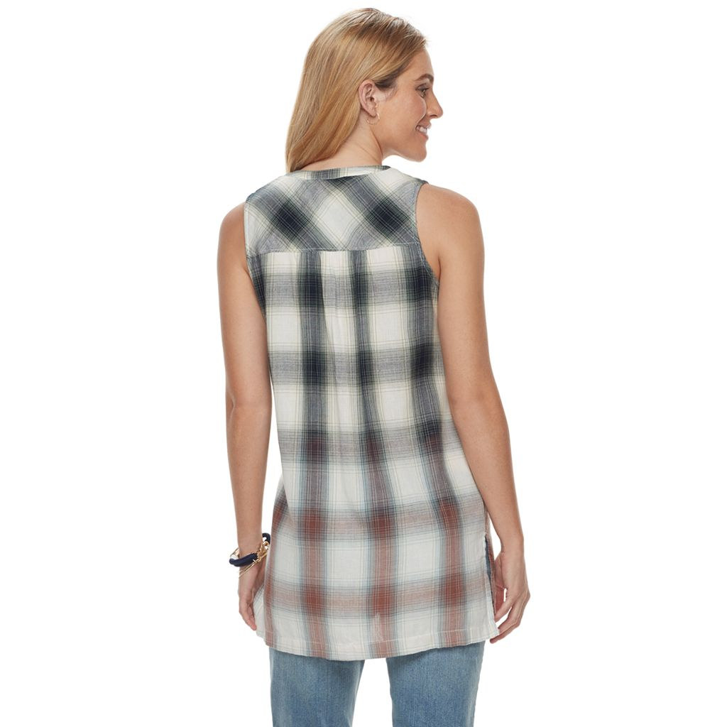 Women's SONOMA Goods for Life™ Plaid Sleeveless Tunic