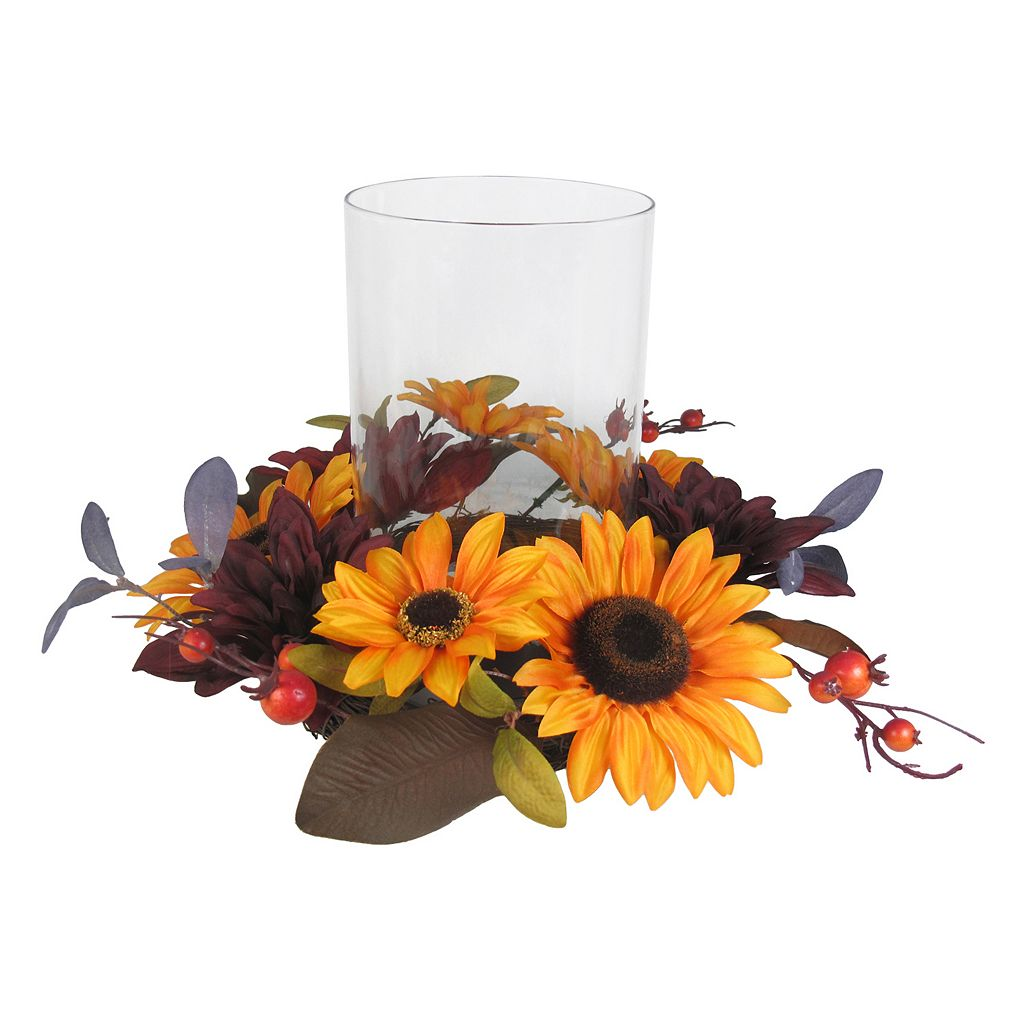 SONOMA Goods for Life™ Artificial Sunflower Hurricane Candle Holder