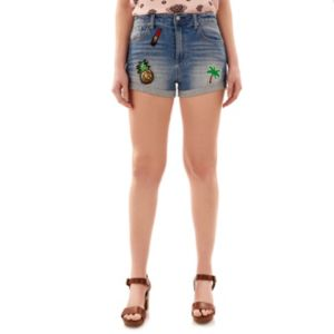 Juniors' Wallflower Patches Jean Shortie Shorts