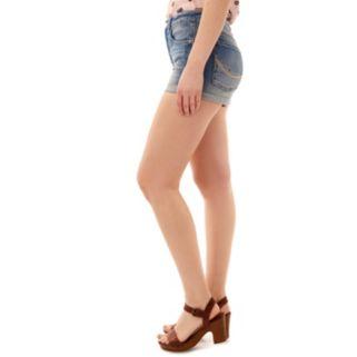 Juniors' Wallflower Patches Jean Shortie Shorts