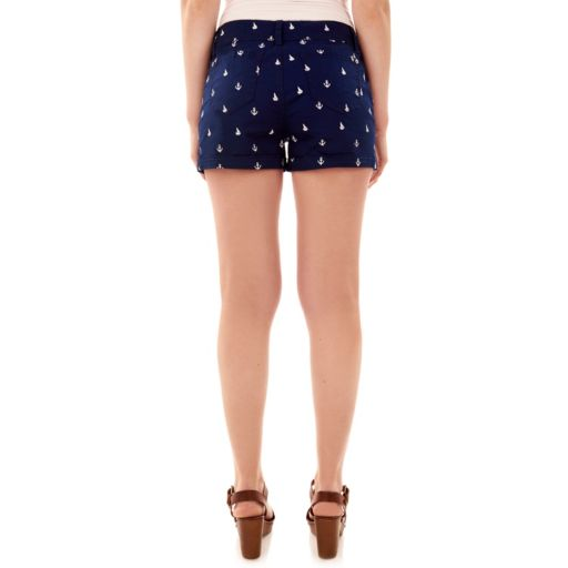 Juniors' Wallflower Anchor Twill Shortie Shorts