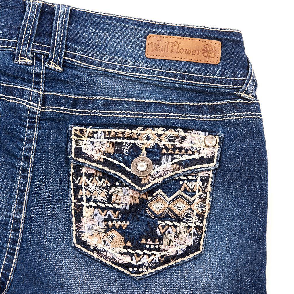 Juniors' Wallflower Faded Jean Shortie Shorts