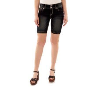 Juniors' Wallflower Embellished Bermuda Jean Shorts