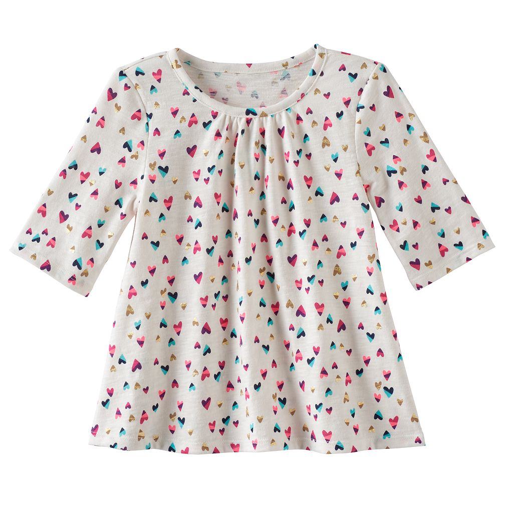 Toddler Girl Jumping Beans® Print Elbow-Sleeve Swing Tee