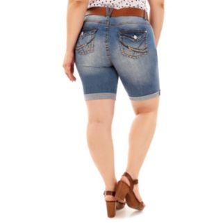 Juniors' Plus Size Wallflower Luscious Curvy Ripped Bermuda Shorts