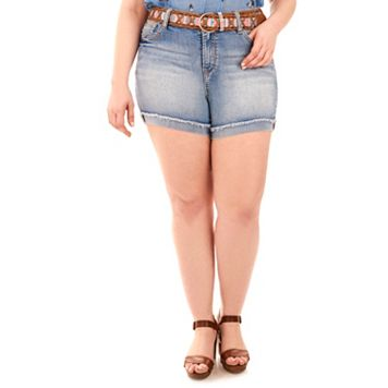 Juniors' Plus Size Wallflower Legendary Jean Shortie Shorts