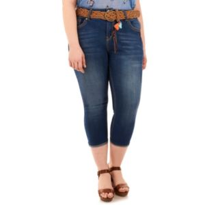 Juniors' Plus Size Wallflower Luscious Curvy Faded Capri Jeans