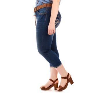 Juniors' Plus Size Wallflower Luscious Curvy Faded Capri Jeans