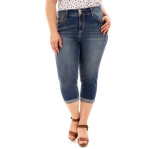 Juniors' Plus Size Wallflower Embellished Jean Capris