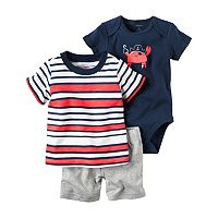 Baby Boy Carter's Striped Tee, Graphic Bodysuit & Shorts Set