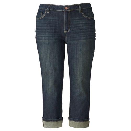 8f0b143cc5590 Women s Plus Size Simply Vera Vera Wang Cuffed Capri Jeans