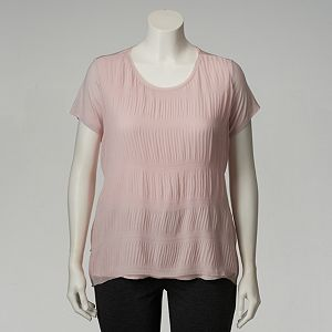 Plus Size Simply Vera Vera Wang Textured Mixed-Media Top