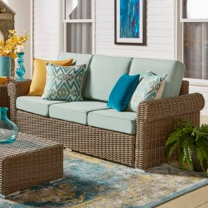 HomeVance Mocha Wicker Patio Arm Sofa