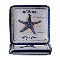 Certified International Calm Seas 6 pc Dinner Plate Set