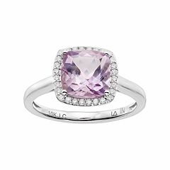 LC Lauren Conrad 10k White Gold Amethyst & 1/8 Carat T.W. Diamond Cushion Halo Ring