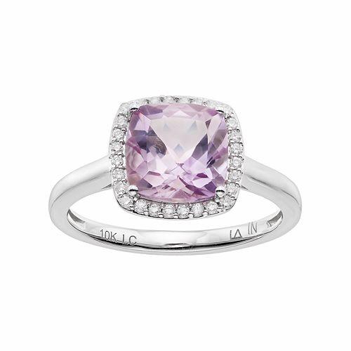LC Lauren Conrad 10k White Gold Amethyst & 1/8 Carat T.W. Diamond Cushion Halo Ring