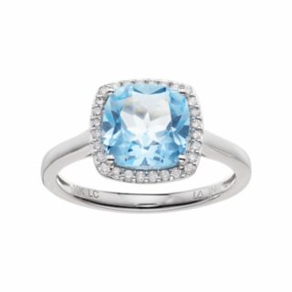 LC Lauren Conrad 10k White Gold Blue Topaz & 1/8 Carat T.W. Diamond Cushion Halo Ring