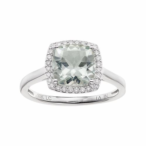 LC Lauren Conrad 10k White Gold Green Quartz & 1/8 Carat T.W. Diamond Cushion Halo Ring